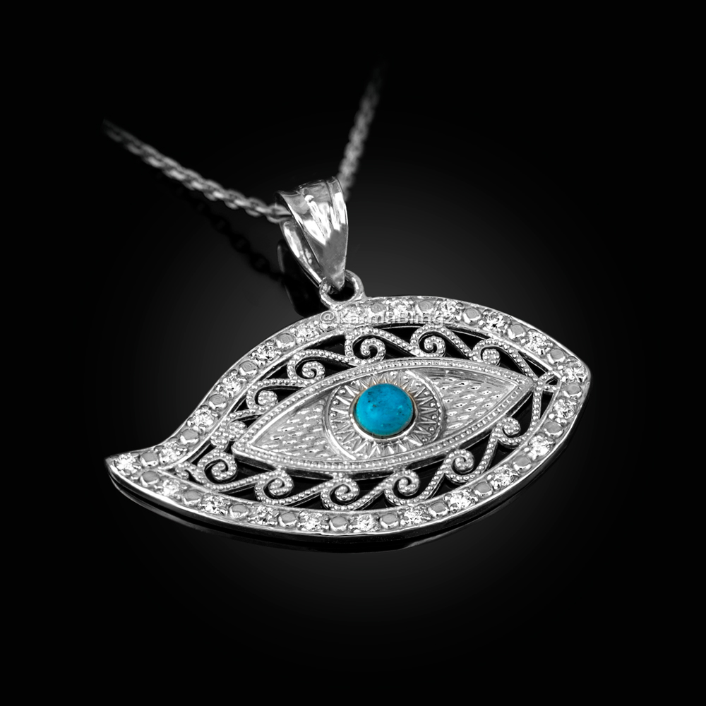 Sterling Silver Evil Eye CZ Turquoise Filigree Pendant Necklace