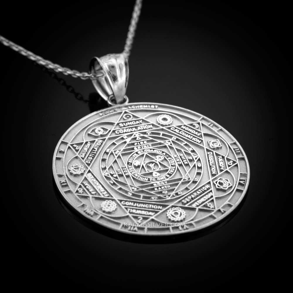 Sterling Silver 7 Chakra Yoga CALENDAR Medallion Necklace