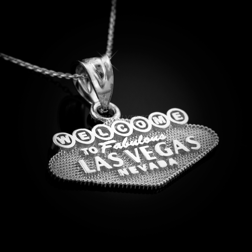 STERLING SILVER Las Vegas Welcome Sign Pendant Necklace