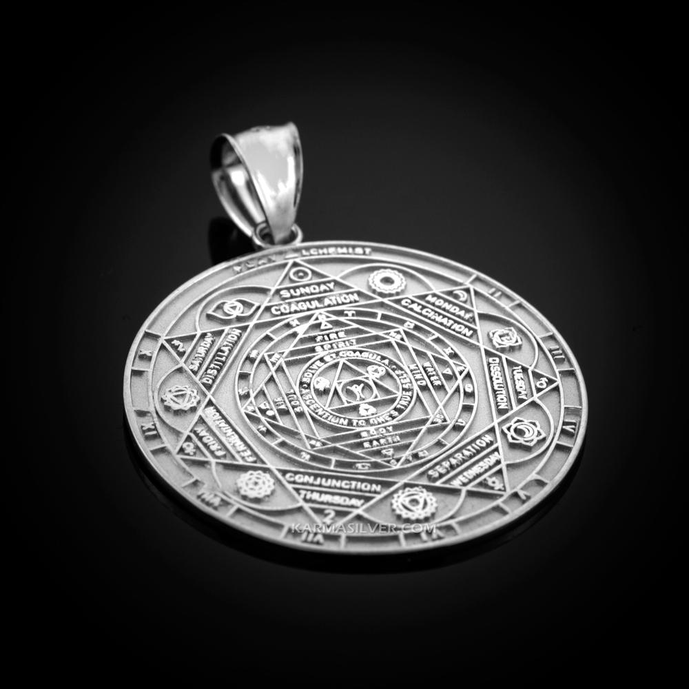 Sterling Silver 7 Chakra Yoga CALENDAR Medallion Pendant (S/M/L)