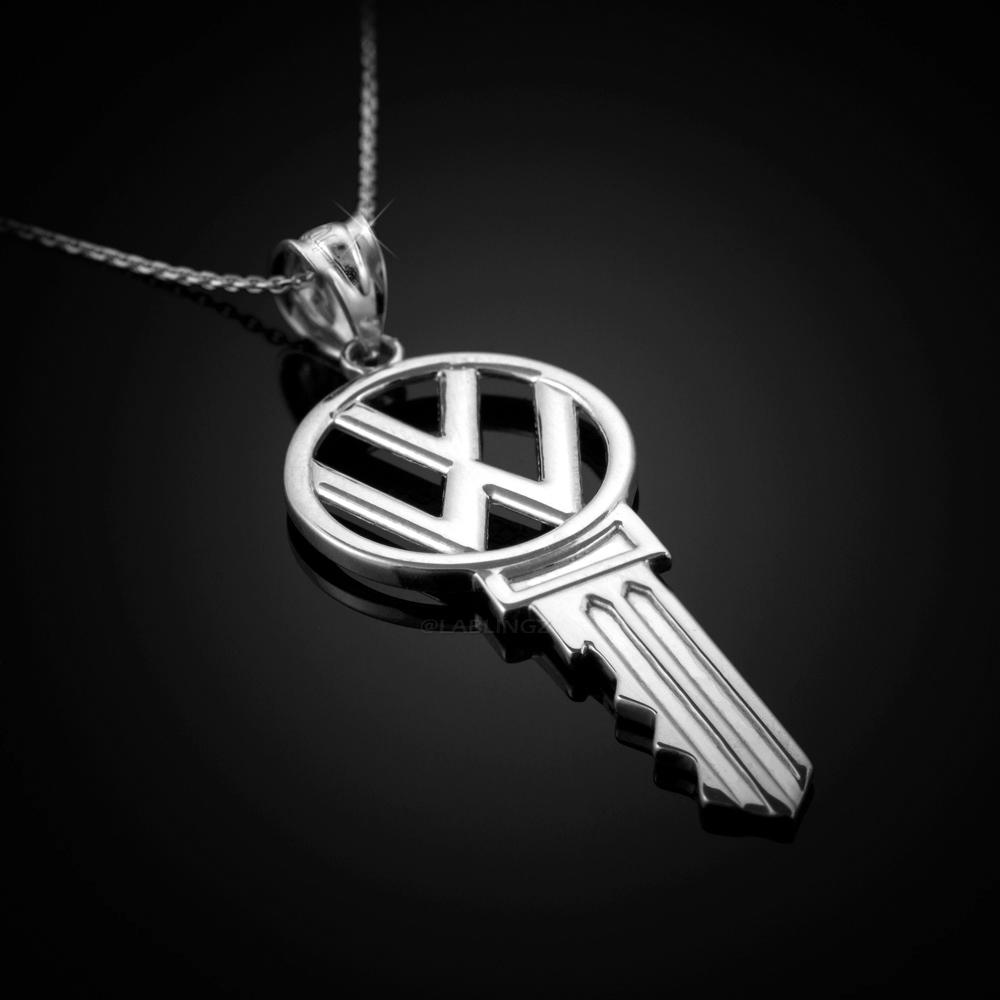 Polished STERLING SILVER VW Volkswagen Key Pendant Necklace