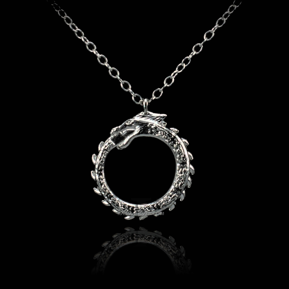 Sterling Silver Ouroboros Tail Biting DRAGON Necklace