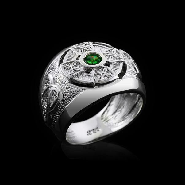 Sterling Silver Mens Celtic Trinity Band BIRTHSTONE Ring